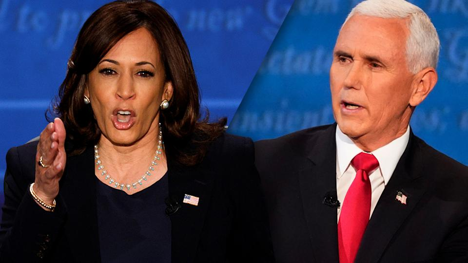 Sen. Kamala Harris and VP Mike Pence speak during the 2020 vice presidential campaign debate. (Brian Snyder/Reuters, Julio Cortez/AP)