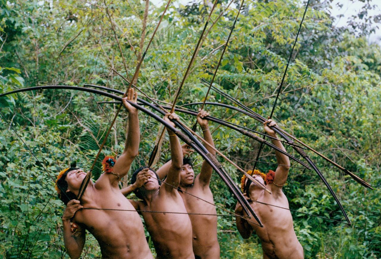 In this Nov. 2011 photo released in 2012 by Survival International, Awa Indians point their bow and arrows in Maranhao state, Brazil. For generations, the Awa lived far away from the rest of humanity, following the seasons' rhythms in the lush Brazilian Amazon rainforest. Then the rest of the world found the Awa. Two bills now working their way through Brazil's Congress would further open indigenous territory to development and potentially weaken tribes' hold on their land. (AP Photo/Survival International)