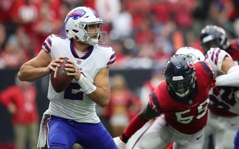 <span>Bills quarterback Nathan Peterman threw two fourth-quarter interceptions against the Texans</span> <span>Credit: Kevin Jairaj/USA Today </span>
