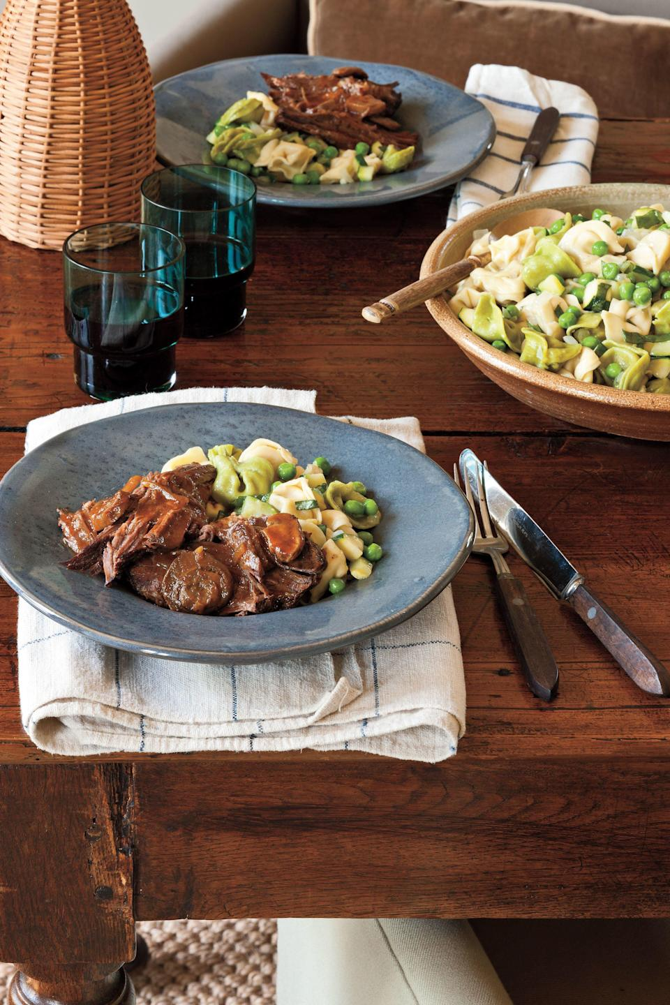 """<p><strong>Recipe:</strong> <a href=""""http://www.myrecipes.com/recipe/italian-pot-roast-10000002012828/"""" rel=""""nofollow noopener"""" target=""""_blank"""" data-ylk=""""slk:Italian Pot Roast"""" class=""""link rapid-noclick-resp""""><strong>Italian Pot Roast</strong></a></p> <p>This hearty pot roast is perfect for a busy weeknight. Just put the ingredients in your slow cooker and let it do all the work.</p>"""