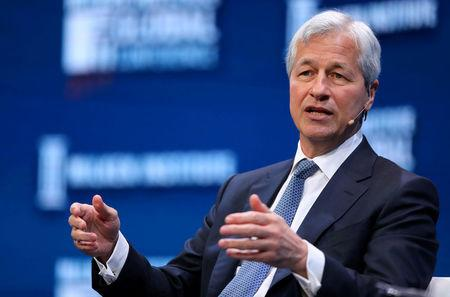 FILE PHOTO: Jamie Dimon speaks during the Milken Institute Global Conference in Beverly Hills California