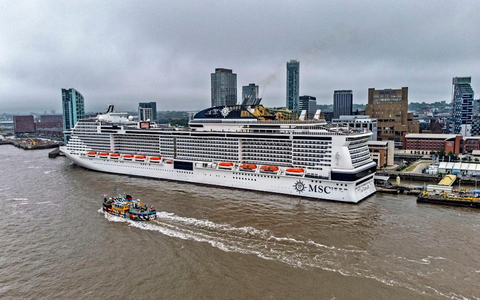 The MSC Virtuosa moored at Liverpool Cruise Terminal - PA