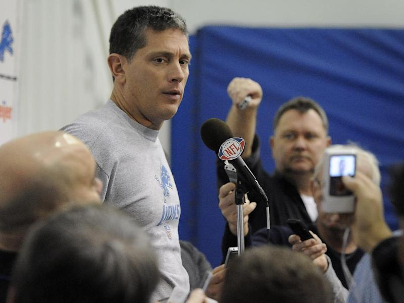 Jim Schwartz answers questions  during a news conference Wednesday Dec. 14, 2011, at the indoor practice field in Allen Park,  Mich.  (AP Photo/The Detroit News, Daniel Mears)