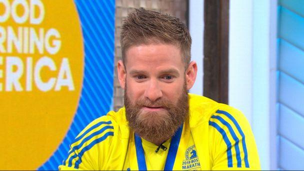 PHOTO: Marine veteran Micah Herndon, who crossed the Boston Marathon finish line by crawling, was surprised with a spot in the New York City Marathon on 'Good Morning America,' April 17, 2019. (ABC News)