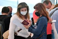Tourists go through health protocols upon arriving at Enfidha-Hammamet International Airport