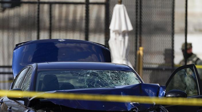 The car that crashed into a barrier on Capitol Hill is seen near the Senate side of the U.S. Capitol in Washington