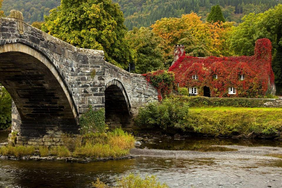 """<p>Add this tiny market town to your must-visit list this autumn. Llanrwst's three-arched bridge across the Conwy (with its famous cottage at the end) is the first thing you'll see upon arrival. Whether you're looking for a <a href=""""https://www.countryliving.com/uk/travel-ideas/staycation-uk/g34187482/uk-staycation-green-spaces/"""" rel=""""nofollow noopener"""" target=""""_blank"""" data-ylk=""""slk:staycation"""" class=""""link rapid-noclick-resp"""">staycation</a> or a day trip, this gorgeous town will set your heart on fire. </p><p><a class=""""link rapid-noclick-resp"""" href=""""https://www.visitconwy.org.uk/towns-and-villages/llanrwst"""" rel=""""nofollow noopener"""" target=""""_blank"""" data-ylk=""""slk:BOOK NOW"""">BOOK NOW </a></p>"""