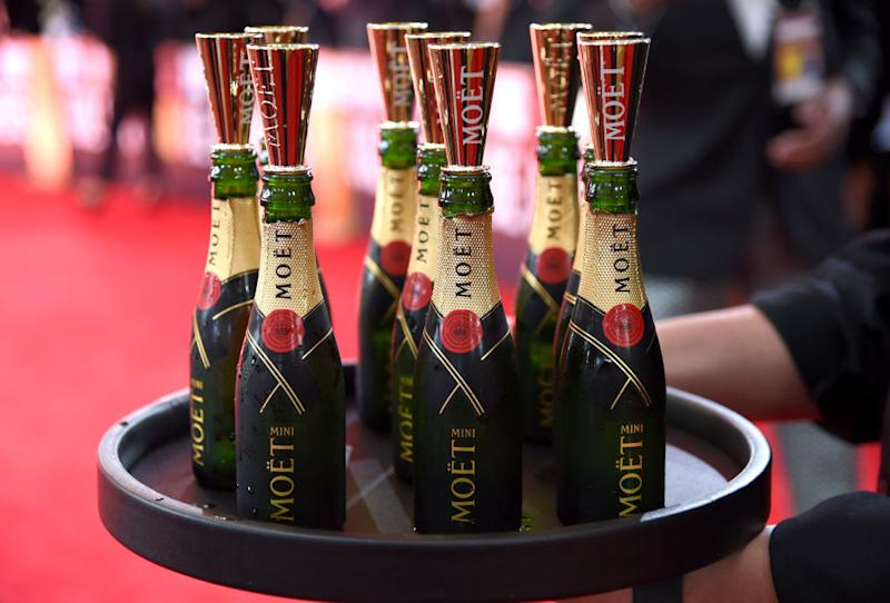BEVERLY HILLS, CALIFORNIA - JANUARY 05: Moet is seen at the 77th Annual Golden Globe Awards at The Beverly Hilton Hotel on January 05, 2020 in Beverly Hills, California. (Photo by Michael Kovac/Getty Images for Moët and Chandon )
