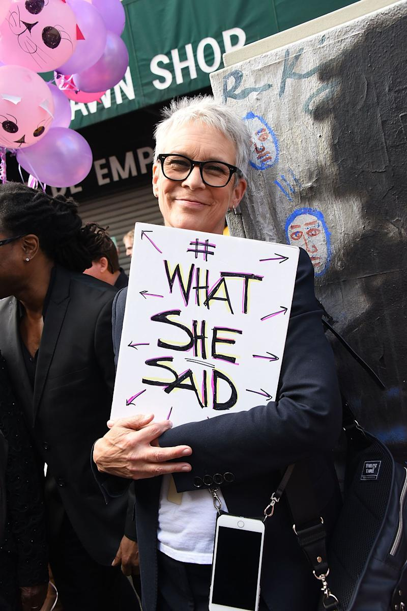 Jamie Lee Curtis attends the Women's March Los Angeles, California.