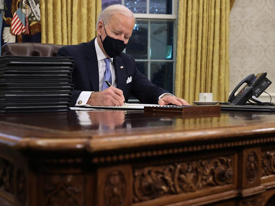 Joe Biden at the Resolute Desk