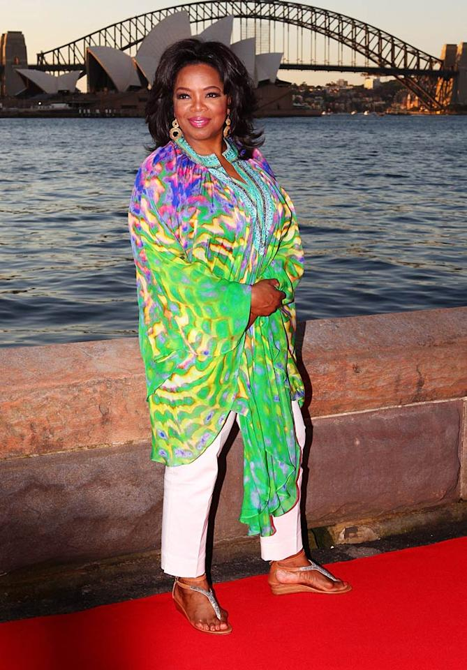 "Naomi's pal, Oprah Winfrey, also delivered a fashion faux pas this week. The retiring talk show titan posed for pics upon arriving at Sydney's Royal Botanic Gardens in this Blanche Devereaux-esque ensemble. Don Arnold/<a href=""http://www.wireimage.com"" target=""new"">WireImage.com</a> - December 11, 2010"