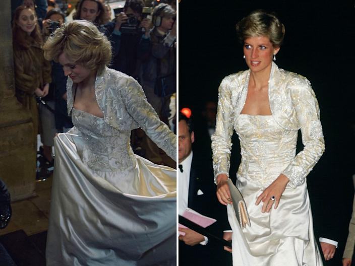 princess diana the crown real life outfits