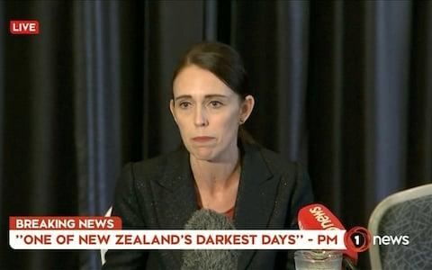 Prime Minister Jacinda Ardern speaking on live television following the attacks in Christchurch - Credit: Reuters