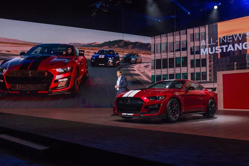 Jim Farley Ford President, Global Markets speaks while introducing the all-new 2020 Mustang Shelby GT 500 during the 2019 North American International Auto Show held at Cobo Center in downtown Detroit on Monday, Jan. 14, 2019.