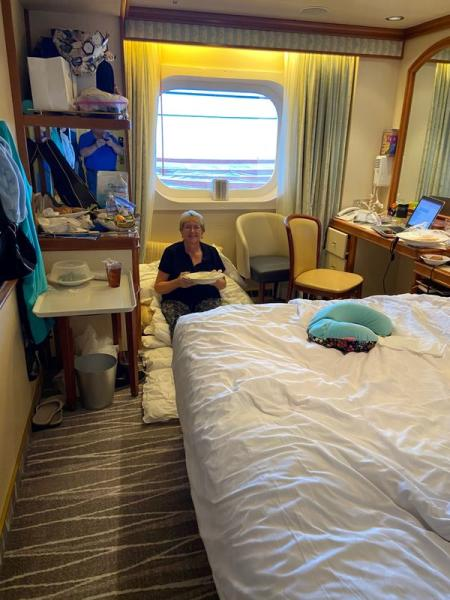 Kolstoe poses as passengers are confined to their rooms on board the Grand Princess