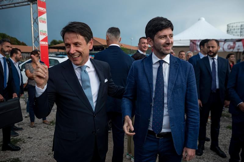 ROME, ITALY - SEPTEMBER 19: Italian Prime Minister Giuseppe Conte and Roberto Speranza take part in a labor party organized by the left wing political party Articolo 1 - Mdp, on September 19, 2019 in Rome, Italy. (Photo by Antonio Masiello/Getty Images) (Photo: Antonio Masiello via Getty Images)