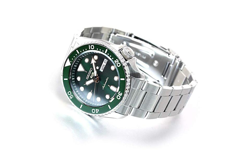"""<p>Not ready to take the plunge on a serious diver from Rolex or Omega? You're in luck: Seiko's much-heralded 5 series gives you everything you could want in a dive watch—an automatic movement, a day and date display, a protected crown at the 4 o'clock position, water resistance, and a near-indestructible case—at a price that won't require a second mortgage.</p> <p><em>Seiko 5 auto-wind mechanical sports watch</em></p> $380, Amazon. <a href=""""https://www.amazon.com/SEIKO-Sports-Auto-Wind-Mechanical-SBSA/dp/B07W6QVJK8/ref=asc_df_B07W6QVJK8/?tag=hyprod-20&linkCode=df0&hvadid=385628990867&hvpos=1o1&hvnetw=g&hvrand=11596904243005933798&hvpone=&hvptwo=&hvqmt=&hvdev=c&hvdvcmdl=&hvlocint=&hvlocphy=9067609&hvtargid=pla-879773223117&psc=1&tag=&ref=&adgrpid=79022975192&hvpone=&hvptwo=&hvadid=385628990867&hvpos=1o1&hvnetw=g&hvrand=11596904243005933798&hvqmt=&hvdev=c&hvdvcmdl=&hvlocint=&hvlocphy=9067609&hvtargid=pla-879773223117"""" rel=""""nofollow noopener"""" target=""""_blank"""" data-ylk=""""slk:Get it now!"""" class=""""link rapid-noclick-resp"""">Get it now!</a>"""