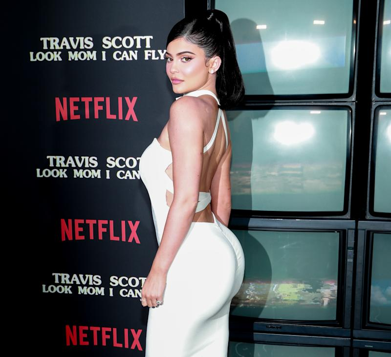 "SANTA MONICA, CALIFORNIA - AUGUST 27: Kylie Jenner attends the premiere of Netflix's ""Travis Scott: Look Mom I Can Fly"" at Barker Hangar on August 27, 2019 in Santa Monica, California. (Photo by Rich Fury/Getty Images)"