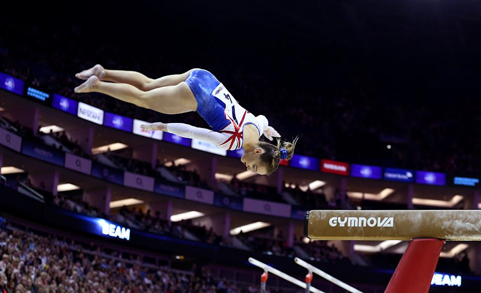 Great Britain's Amy Tinkler on the beam during the World Cup of Gymnastics at The O2, London. (Photo by Steven Paston/PA Images via Getty Images)