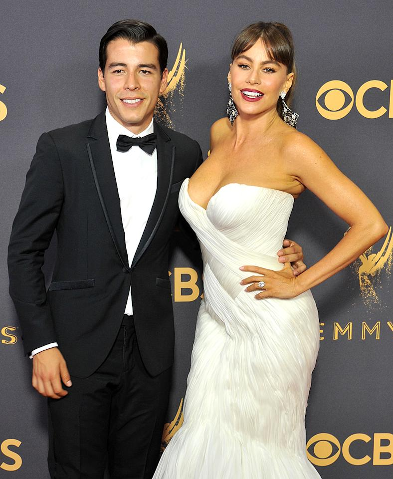 "<p>With husband Joe Manganiello out of town, Vergara took her other favorite date to the Emmys: son Manolo, 26. ""Always glad to be her Plan B when Joe is busy making movies,"" Manolo shared on social media, along with his hopes of meeting <i>Feud</i> star Jessica Lange. In the end, Manolo didn't meet Lange, but he seemed excited about <a rel=""nofollow"" href=""https://www.instagram.com/p/BZKmnGElWCr/?hl=en&taken-by=manologonzalezvergara"">meeting the cast of <i>9 to 5</i></a>! (Photo: Gregg DeGuire/Getty Images) </p>"