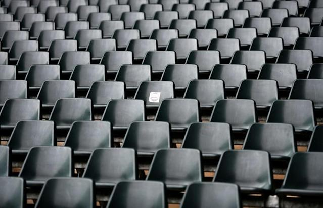 Empty seats and stands at Borussia-Park football stadium, home of Borussia Moenchengladbach (AFP Photo/Ina FASSBENDER)