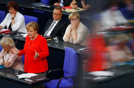 German Chancellor Angela Merkel speaks during a session at the lower house of parliament Bundestag in Berlin, Germany June 6, 2018. REUTERS/Axel Schmidt