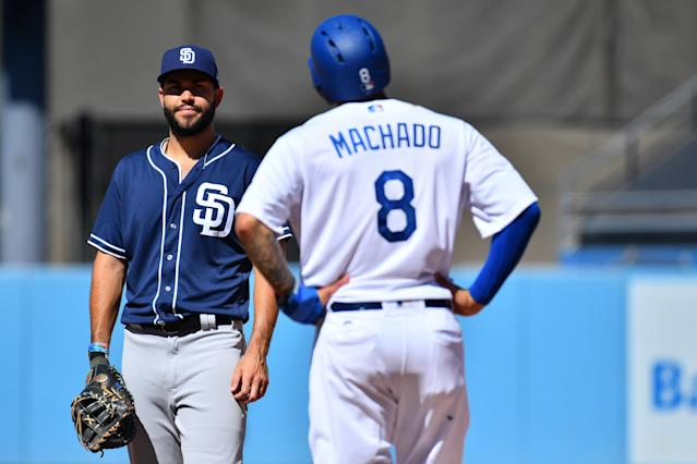 "Will Manny Machado wind up with <a class=""link rapid-noclick-resp"" href=""/mlb/players/8857/"" data-ylk=""slk:Eric Hosmer"">Eric Hosmer</a> and the <a class=""link rapid-noclick-resp"" href=""/mlb/teams/san-diego/"" data-ylk=""slk:Padres"">Padres</a>? After weeks and weeks, it still remains to be seen. (Getty)"