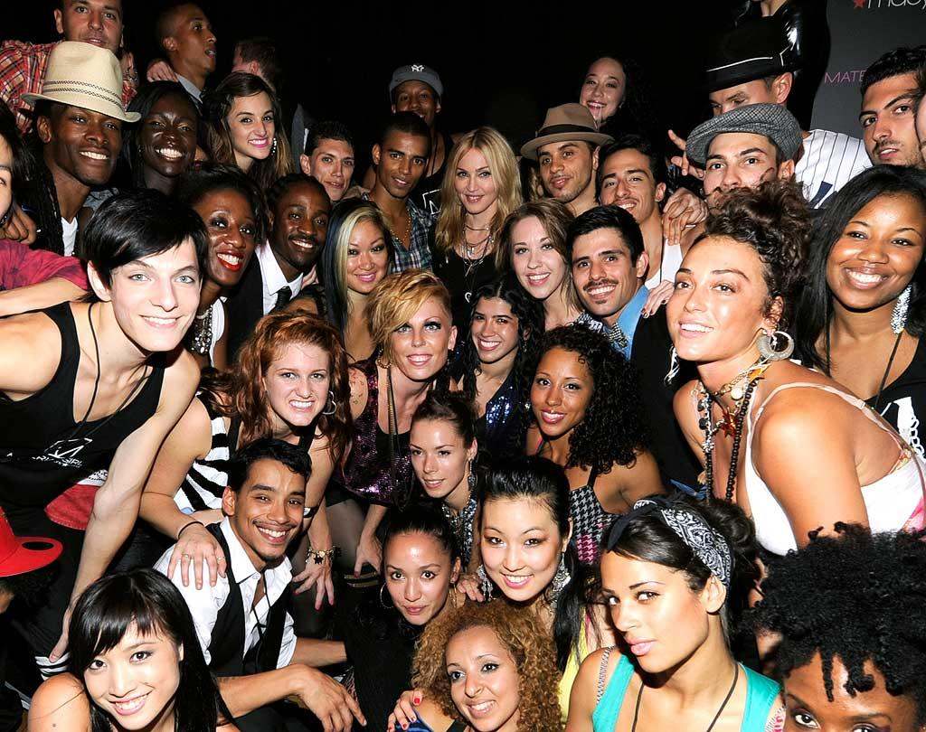 """Can you find the original """"Material Girl"""" in this crowd of dancers? Kevin Mazur/<a href=""""http://www.wireimage.com"""" target=""""new"""">WireImage.com</a> - September 22, 2010"""
