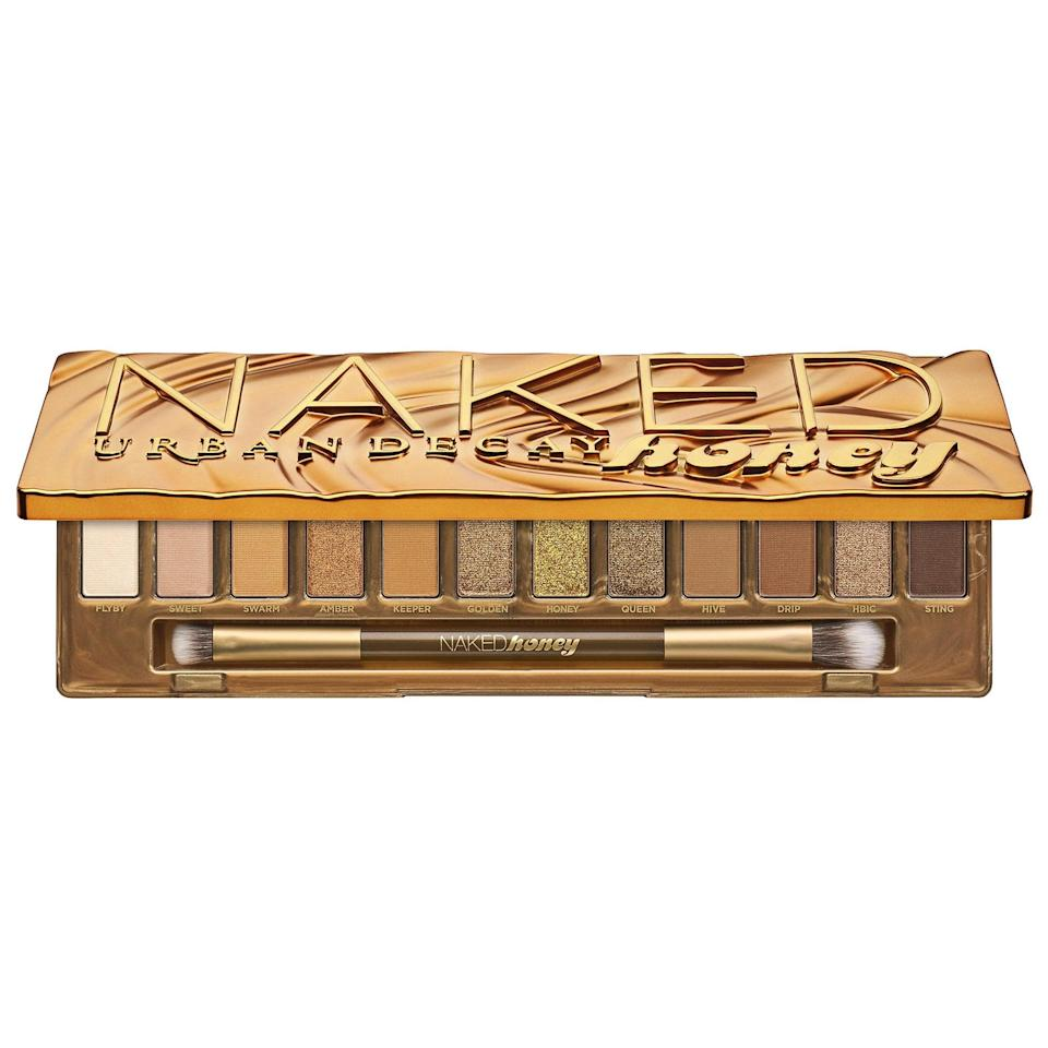 """<p>The shimmery looks created with this <a href=""""https://www.popsugar.com/buy/Urban-Decay-Naked-Honey-Eyeshadow-Palette-523463?p_name=Urban%20Decay%20Naked%20Honey%20Eyeshadow%20Palette&retailer=sephora.com&pid=523463&price=49&evar1=bella%3Aus&evar9=47554137&evar98=https%3A%2F%2Fwww.popsugar.com%2Fbeauty%2Fphoto-gallery%2F47554137%2Fimage%2F47554151%2FUrban-Decay-Naked-Honey-Eyeshadow-Palette&list1=eyeshadow%2Csephora%2Ceye%20makeup&prop13=mobile&pdata=1"""" class=""""link rapid-noclick-resp"""" rel=""""nofollow noopener"""" target=""""_blank"""" data-ylk=""""slk:Urban Decay Naked Honey Eyeshadow Palette"""">Urban Decay Naked Honey Eyeshadow Palette</a> ($49) are pretty bold and buzzy for summer nights.</p>"""