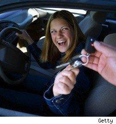 teen girl excited to get keys to car - teen drivers