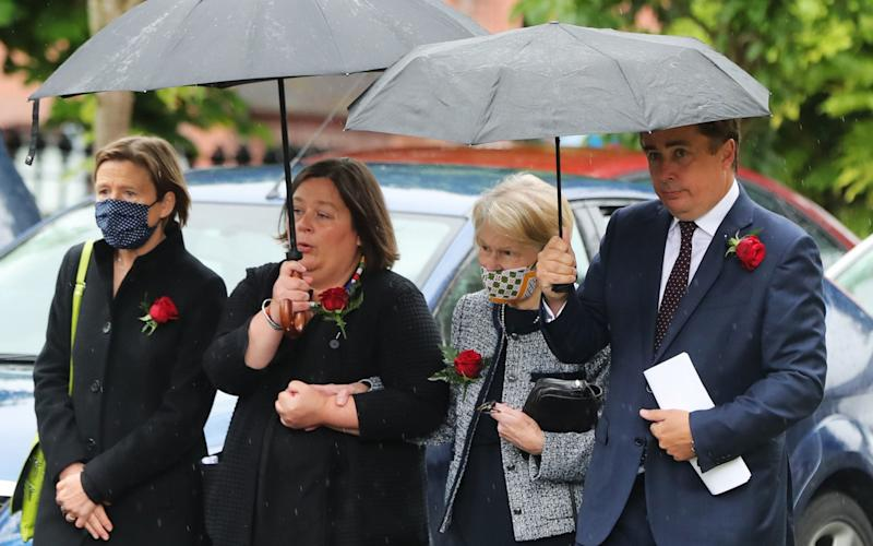 Patricia Hume (second right) arrives at St Eugene's Cathedral in Londonderry for the funeral of her husband John Hume - PA