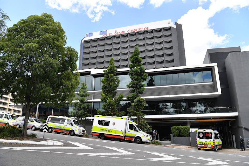 Queensland has shut Hotel Grand Chancellor after a surge in cases linked to the UK strain. Source: AAP