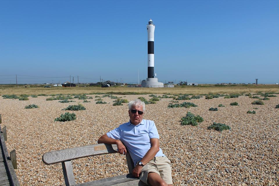 John Briggs on the beach in front of Dungeness lighthouse (Rory Sullivan)
