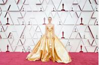 <p>Swishing down the red carpet in a voluminous gold ballgown, Carey Mulligan pulled off one of her best looks ever. The actress, who was nominated for her part in Promising Young Women, stole the show in the Valentino couture gown, which featured a strapless neckline, a cut-out panel and a shimmery finish, which could not have been more perfect for her big night.</p>