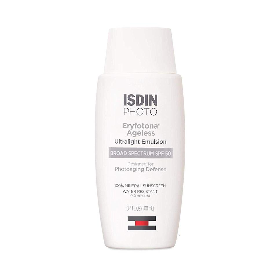 """<p><strong>ISDIN</strong></p><p>amazon.com</p><p><strong>$66.00</strong></p><p><a href=""""https://www.amazon.com/dp/B07ZZFYNKL?tag=syn-yahoo-20&ascsubtag=%5Bartid%7C2141.g.26902204%5Bsrc%7Cyahoo-us"""" rel=""""nofollow noopener"""" target=""""_blank"""" data-ylk=""""slk:SHOP NOW"""" class=""""link rapid-noclick-resp"""">SHOP NOW</a></p><p>For a tinted formula that helps reverse the signs of aging (while preventing future damage!), check out this lightweight sunscreen, which leaves skin looking more even. """"ISDIN Eryfotona Ageless is a tinted version of the classic <a href=""""https://www.amazon.com/ISDIN-Eryfotona-Actinica-Mineral-Sunscreen/dp/B07RXS4FQM?tag=syn-yahoo-20&ascsubtag=%5Bartid%7C2141.g.26902204%5Bsrc%7Cyahoo-us"""" rel=""""nofollow noopener"""" target=""""_blank"""" data-ylk=""""slk:Eryfotona Actinica"""" class=""""link rapid-noclick-resp"""">Eryfotona Actinica</a> and is a full mineral sunscreen for the face with peptides, DNA repairsomes, and vitamin E,"""" says <a href=""""https://drsharimarchbein.com/"""" rel=""""nofollow noopener"""" target=""""_blank"""" data-ylk=""""slk:Shari Marchbein, M.D."""" class=""""link rapid-noclick-resp"""">Shari Marchbein, M.D.</a>, a board-certified dermatologist at Downtown Dermatology in New York City. <strong>""""These are perfect for day-to-day and the tinted sunscreen can be used instead of makeup."""" </strong> </p>"""