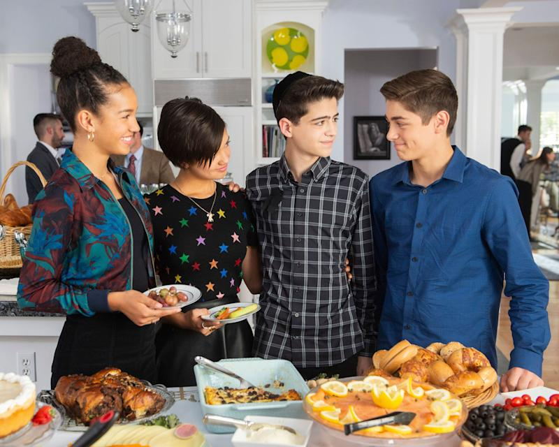 """Andi Mack"" stars Sofia Wylie, Peyton Elizabeth Lee, Joshua Rush and Asher Angel in Friday's episode, ""One in a Minyan."" (Photo: Disney )"