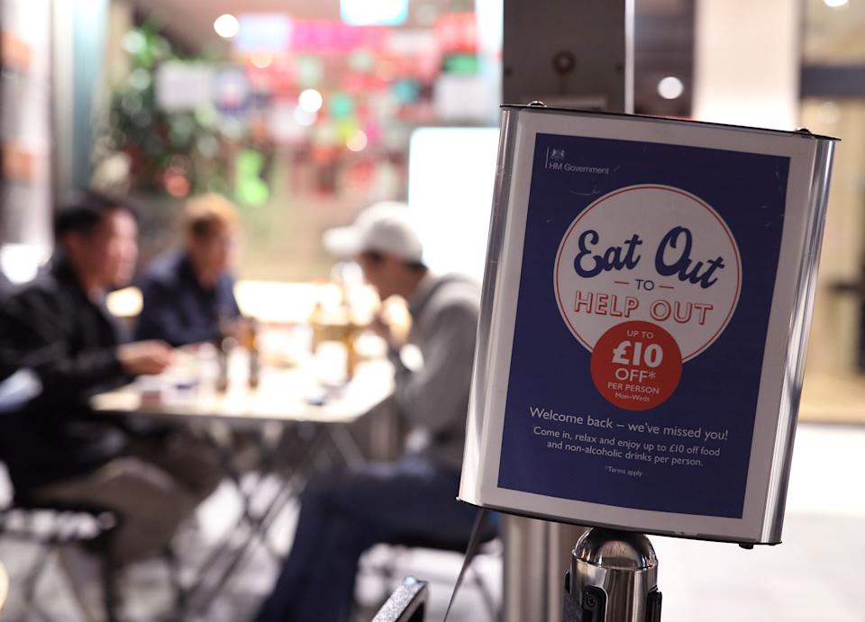 The Eat Out To Help Out Scheme gave diners a state-backed 50% discount on meals between Mondays and Wednesdays (Photo: PA)