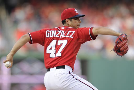 Washington Nationals starter Gio Gonzalez delivers a pitch against the Los Angeles Dodgers during the first inning of a baseball game, Saturday, July 20, 2013, in Washington. (AP Photo/Nick Wass)