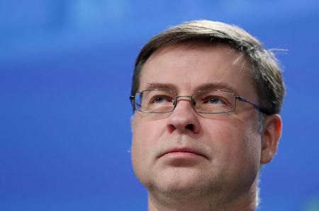 FILE PHOTO: European Commission Vice President Valdis Dombrovskis takes part in a news conference on the capital markets at the EU Commission headquarters in Brussels, Belgium, March 8, 2018. REUTERS/Yves Herman