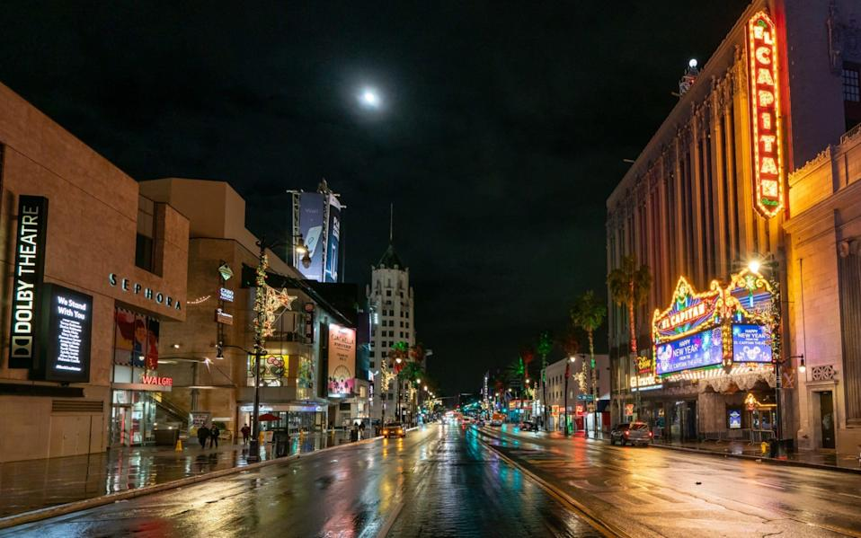 An empty Hollywood Boulevard last month. Cinemas in LA have not been open since March - GC IMAGES