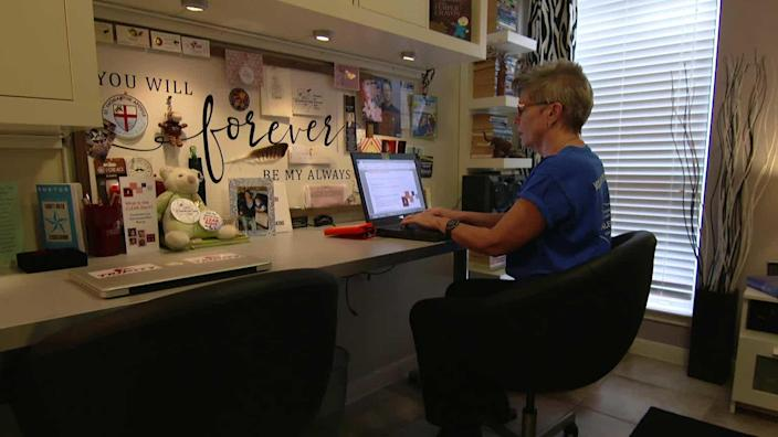 At Cayley's desk, Alison Steele has tirelessly worked to turn her grief into action. In September 2019, less than two years after Cayley's death, the Texas Legislature approved the Coordinated Law Enforcement Adult Response, or CLEAR Alert. / Credit: CBS News