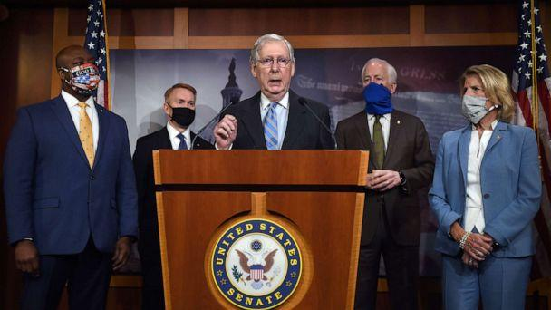 PHOTO: Republican Senate Majority Leader Mitch McConnell speaks during a news conference to announce that the Senate is considering police reform legislation, at the U.S. Capitol, June 17, 2020 in Washington, D.C. (Olivier Douliery/AFP via Getty Images)