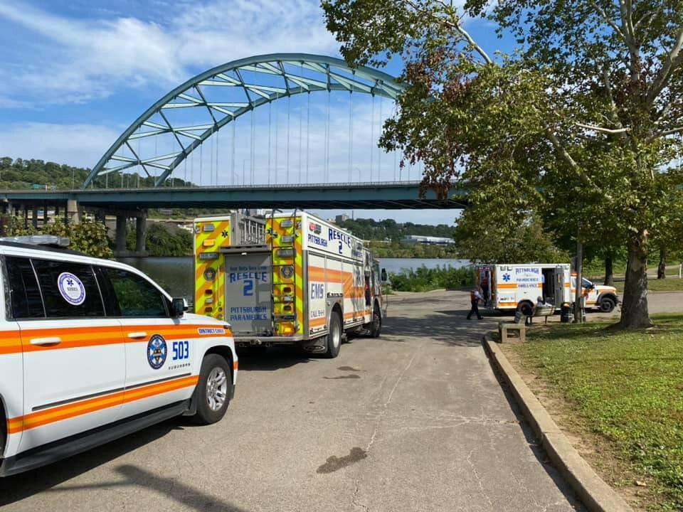 Pittsburgh River Rescue responded to the area of the 10th Street bridge on the South Side of the Monongahela River for reports from the Fish and Boat Commission of a male who was observed going under the water before 1:45 p.m.