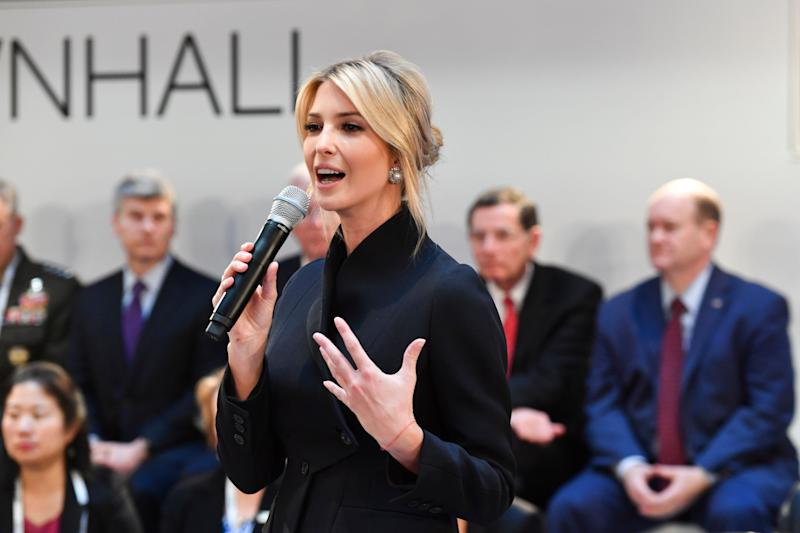 Ivanka Trump daughter of the US President, addresses at a meeting during the Munich Security Conference in Munich, Germany, Saturday, Feb. 16, 2019. (AP Photo/Kerstin Joensson)