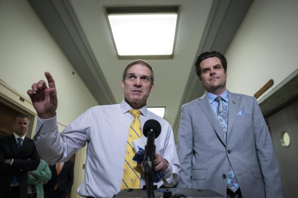 """<div class=""""inline-image__caption""""><p>Reps. Jim Jordan and Matt Gaetz speak to reporters during a break in a closed door meeting with former White House counsel Don McGahn on June 4.</p></div> <div class=""""inline-image__credit"""">Drew Angerer/Getty</div>"""