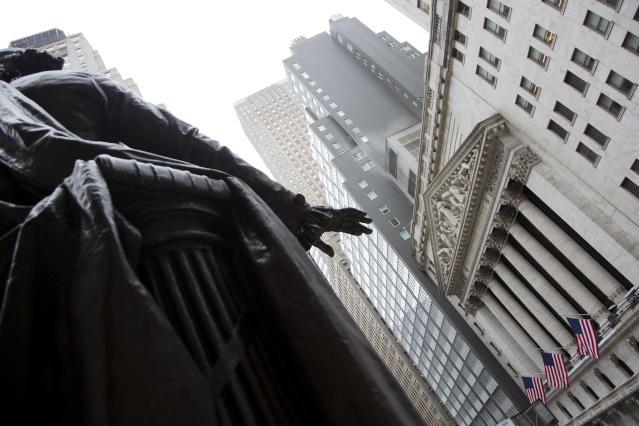 NEW YORK, NY - MARCH 12: The statue os George Washigton is seen in front of the New York Stock Exchange on March 12, 2020. in New York City. The Dow Jones industrial average fell 2,352.60 points, a decrease of almost 10% and the largest since 1987. (Photo by Pablo Monsalve/VIEWpress/Corbis via Getty Images)