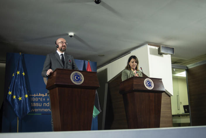 Najla Al-Manqoush, the Minister of Foreign Affairs, gives a press statement together with Mr. Charles Michel, the President of the European Council over the agreement of the European Union's support of peace and stability for Libya at the Prime Minister's office on Sunday, April 4, 2021, in Tripoli, Libya. (AP Photo/Nada Harib)