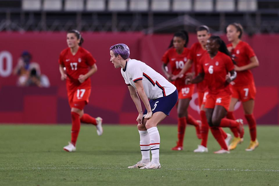 Megan Rapinoe and the USWNT won't become the first team to follow a World Cup win with a gold medal after Canada beat them 1-0 in the Olympic semifinals. (Photo by Francois Nel/Getty Images)