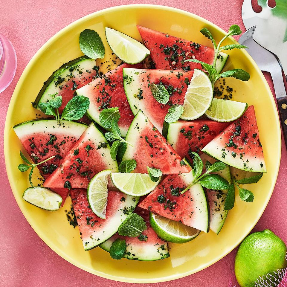 <p>This flavor-boosting combo of mint and lime, inspired by the traditional Italian herb-and-garlic gremolata recipe, livens up juicy watermelon. Put a platter out at your next cookout and watch it disappear in an instant.</p>