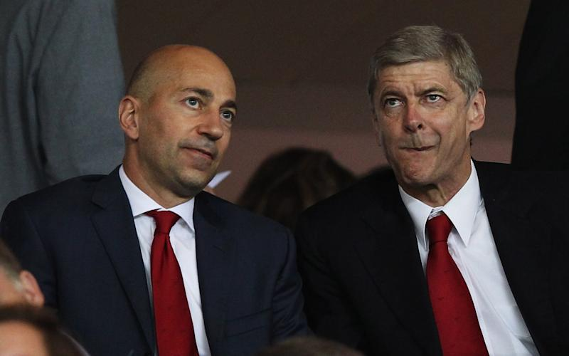 Arsene Wenger manager of Arsenal (R) and Ivan Gazidis, CEO of Arsenal - Credit: Getty Images